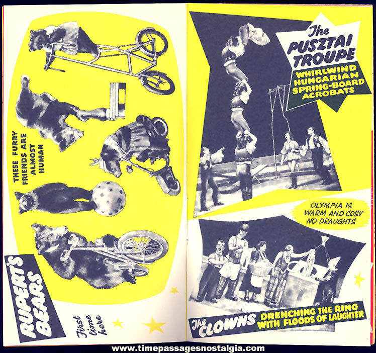 (5) 1954 – 1956 Bertram Mills Circus Olympia Season Advertising Souvenir Items