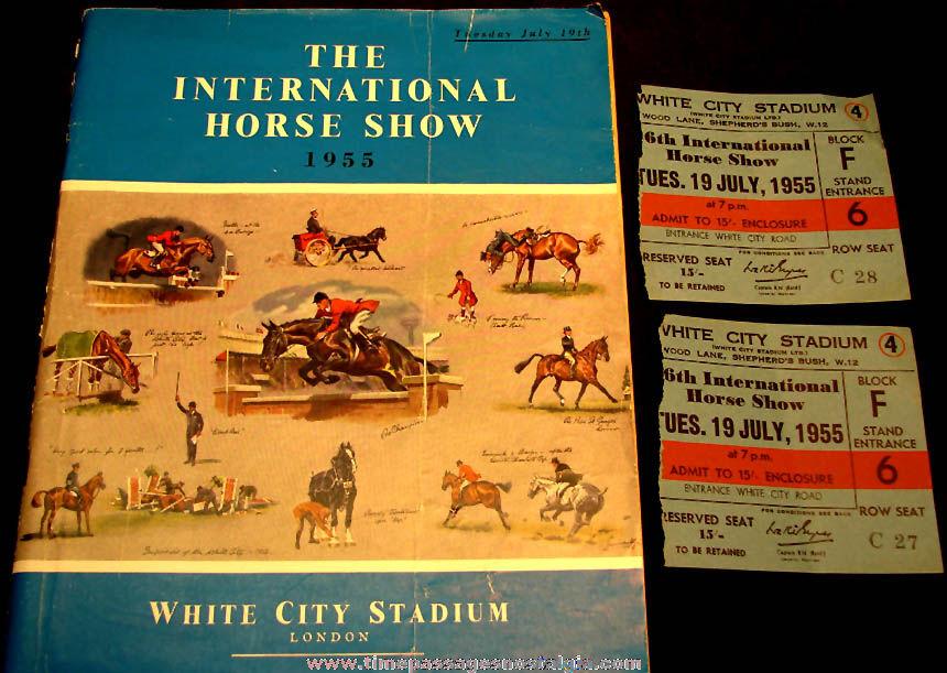 (3) 1955 White City Stadium London International Horse Show Advertising Souvenir Items