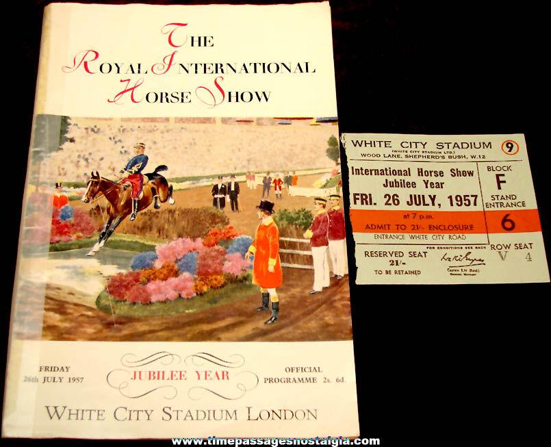 (2) 1957 White City Stadium London Royal International Horse Show Advertising Souvenir Items