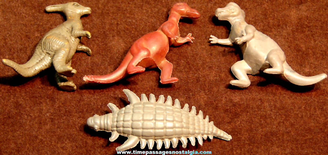 (4) Different 1957 Nabisco Cereal Prize Dinosaur Play Set Figures