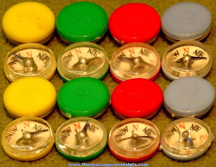 (16) Colorful Old Metal & Plastic Gum Ball Machine Prize Compasses