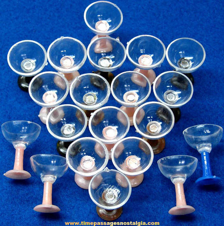 (20) Old Gum Ball Machine Prize Miniature Toy Martini Drink Glasses