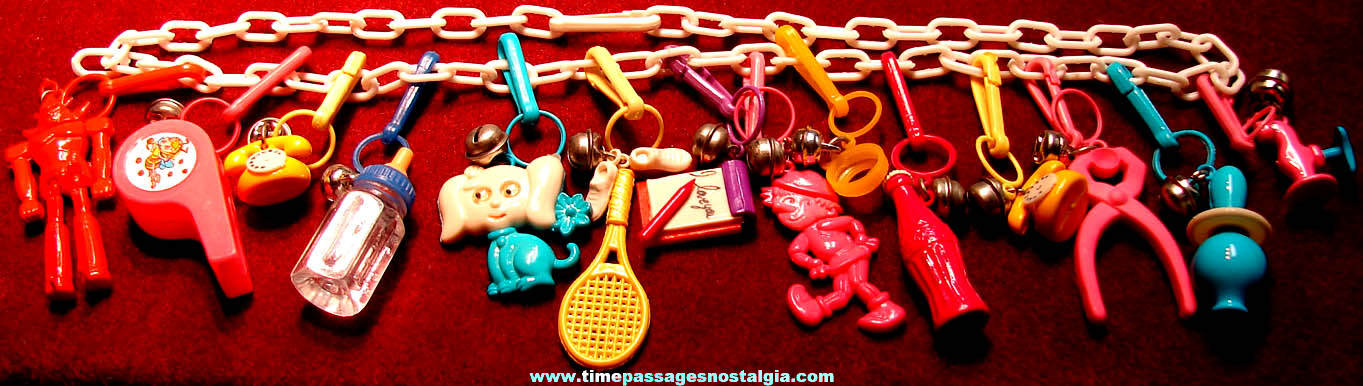 Colorful 1980s Miniature Toy Charm & Bell Necklace