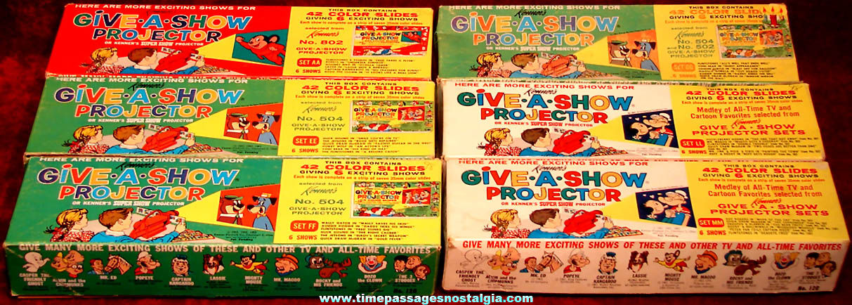(6) Complete 1960s Boxed Sets of Kenner's Give A Show Projector Slides