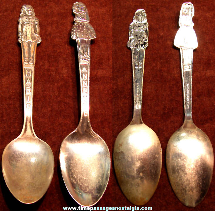 (2) Different 1930s Dionne Quintuplets Character Advertising Premium Tea Spoons
