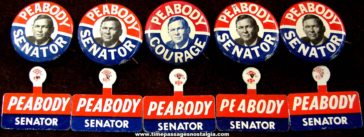 (10) Unused 1966 Endicott Peabody Massachusetts Senate Political Campaign Tin Tab and Pin Back Buttons