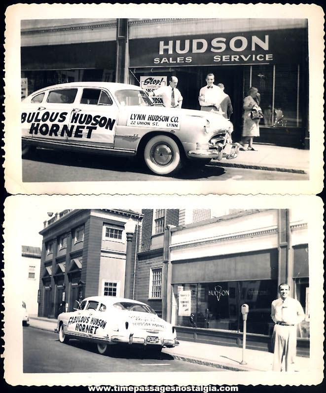 (2) Different 1950s Fabulous Hudson Hornet Lynn Massachusetts Dealership Black & White Photographs
