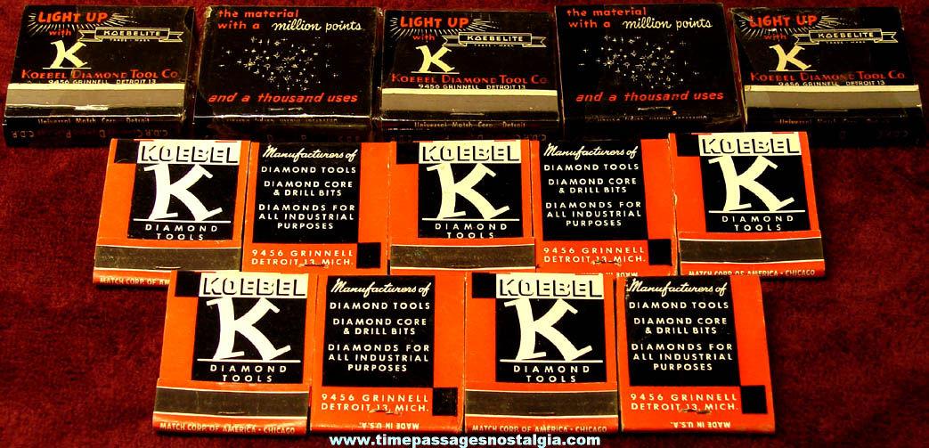 (19) Old Unused Koebel Diamond Tools Advertising Premium Match Books (2 sizes)