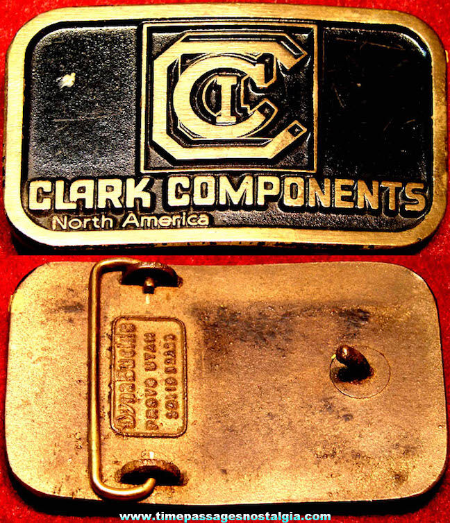 Old Clark Components North America Fork Lift Truck Advertising Brass Belt Buckle