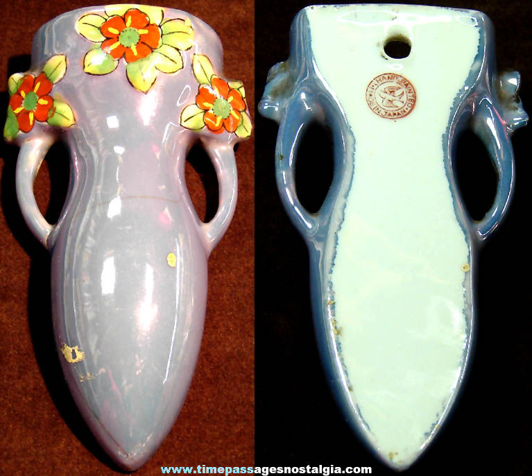 Small Old Colorful Lusterware Porcelain Pocket or Wall Flower Vase