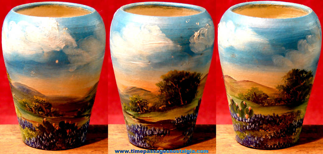 Small Old Colorful Pottery Flower Vase with Landscape Oil Painting