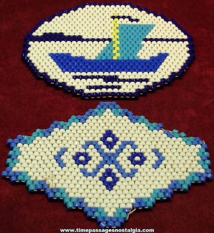 (2) Different Colorful Old Glass Bead Kitchen Hot Plate Trivets