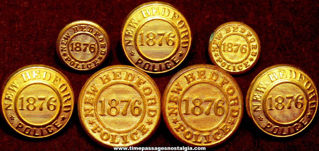 (7) Old New Bedford Massachusetts Police Officer Brass Uniform Buttons