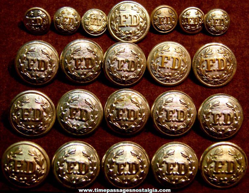 (22) Old Fireman or Fire Department Brass Metal Uniform Buttons