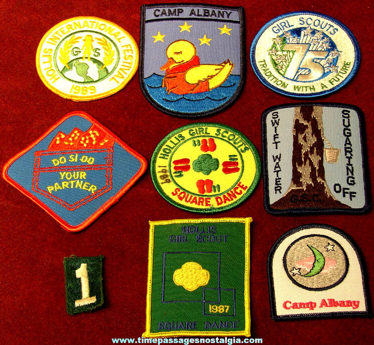 (9) Different Colorful Old Unused Girl Scout Embroidered Cloth Advertising Souvenir Patches