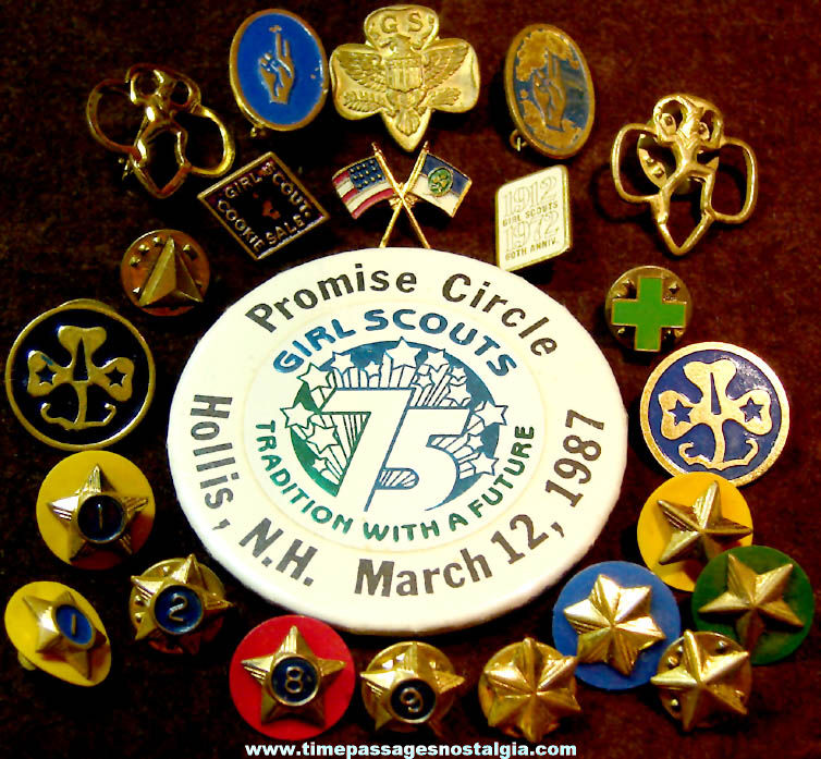 (23) Different Various Old Girl Scout Advertising and Emblem Pins
