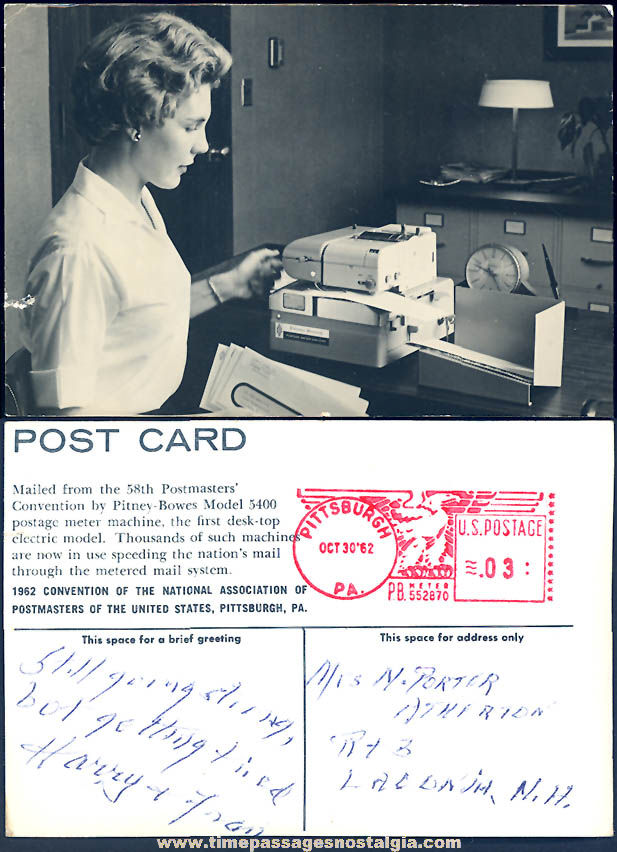 1962 58th National Association of Postmasters' Convention Postage Meter Machine Advertising Post Card