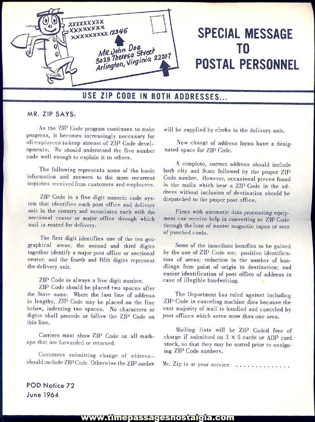(5) Old United States Post Office Mr. Zip or Zippy Zip Code Advertising Character Items