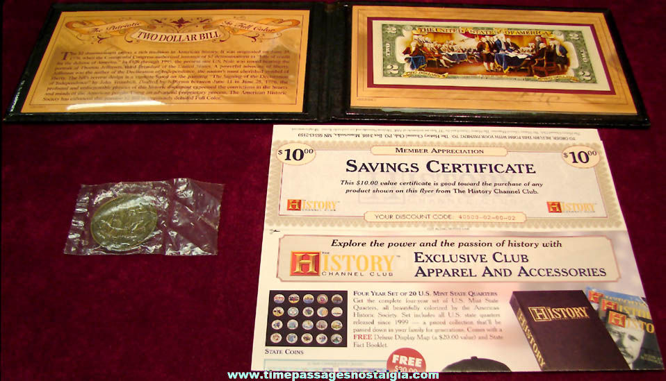 History Channel Club Colorized Two Dollar Bill with Presentation Case & Medallion Coin