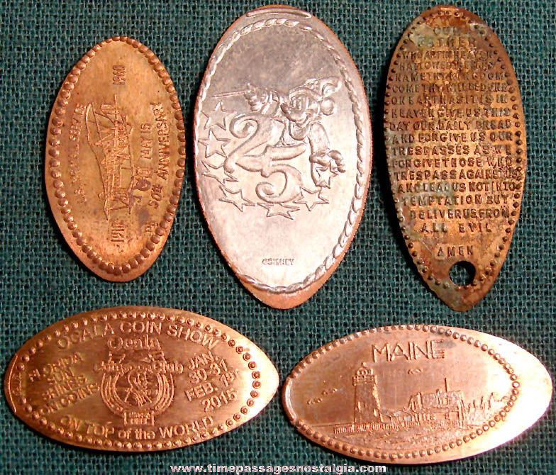 (5) Different Elongated Advertising and Souvenir Coins