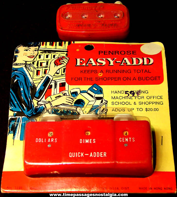 (2) Different Old Plastic Grocery Store Handy Calculator Adders or Counters