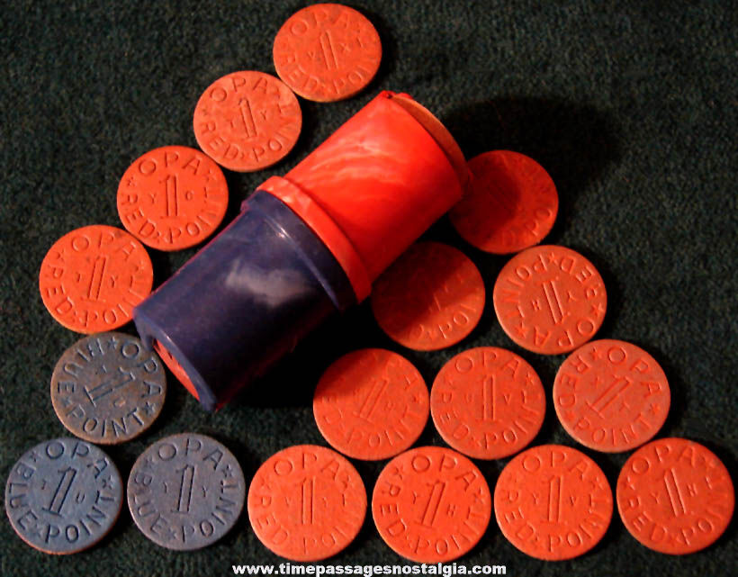 (17) World War II OPA Red & Blue Point Tokens with Token Holder