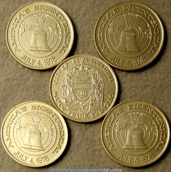 (5) Unused City of Philadelphia American Bicentennial 1776 - 1976 Advertising Souvenir Token Coins