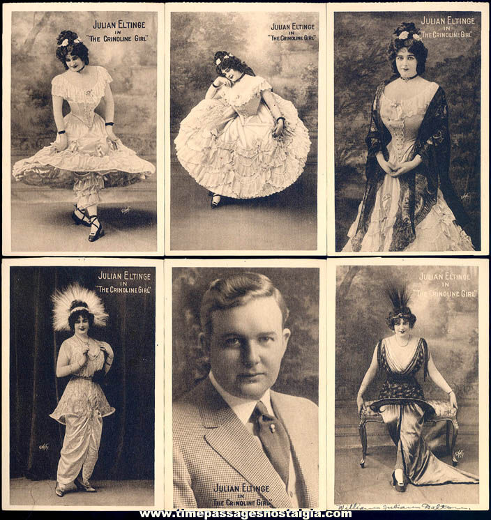 (6) Different 1914 Dated Julian Eltinge Female Impersonator Comedy Theatre Advertising Post Cards + Bonus