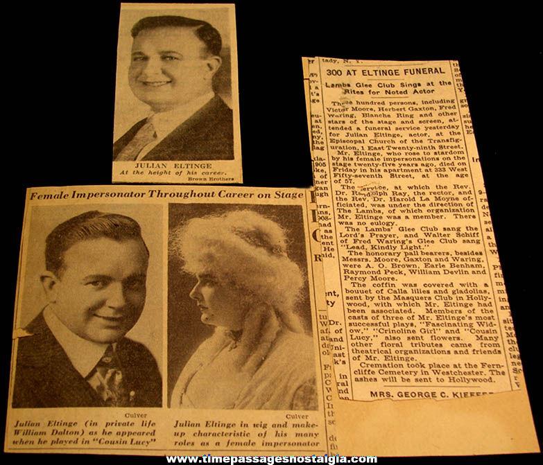 (6) Different 1914 Dated Julian Eltinge Female Impersonator Comedy Theatre Advertising Post Cards + Bonus