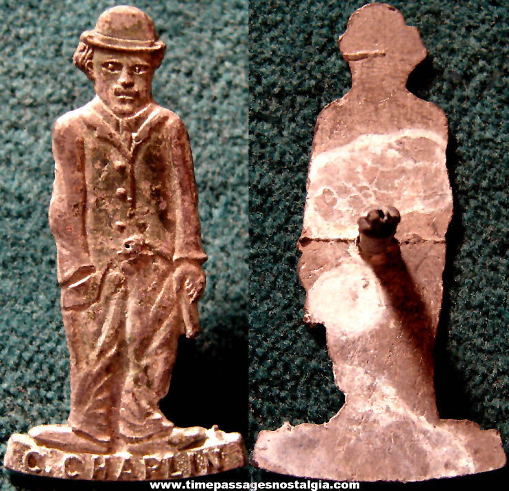 Rare Old Cracker Jack Pop Corn Confection Pot Metal or Lead Miniature Toy Prize Charlie Chaplin Character Lapel Stud Button