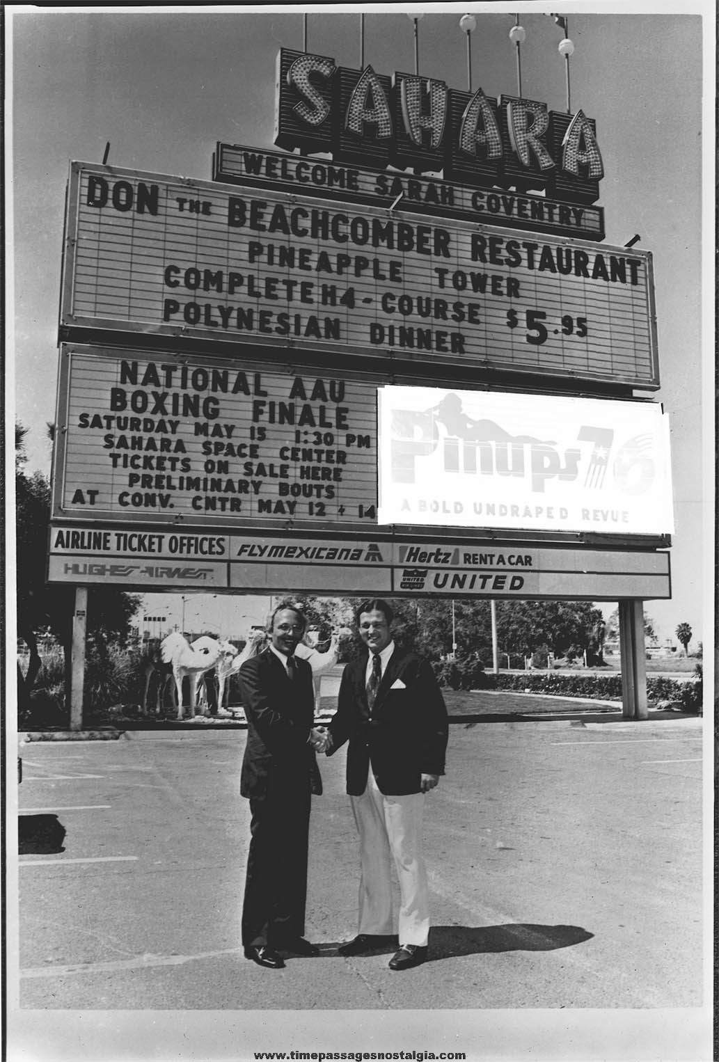 1976 Sahara Casino &: Hotel Event Sign Promotional Black & White Photograph Negative
