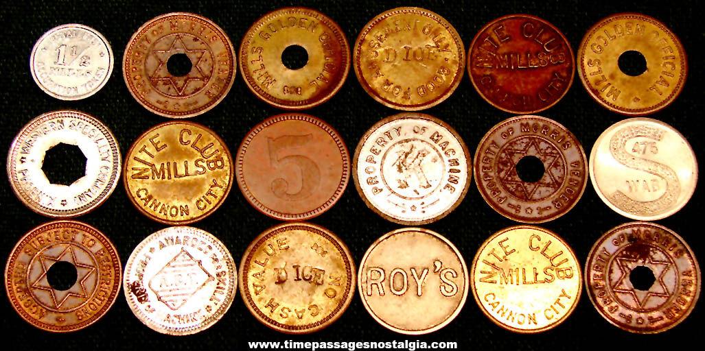 (18) Old Amusement Arcade or Slot Machine Advertising Gaming Metal Token Coins