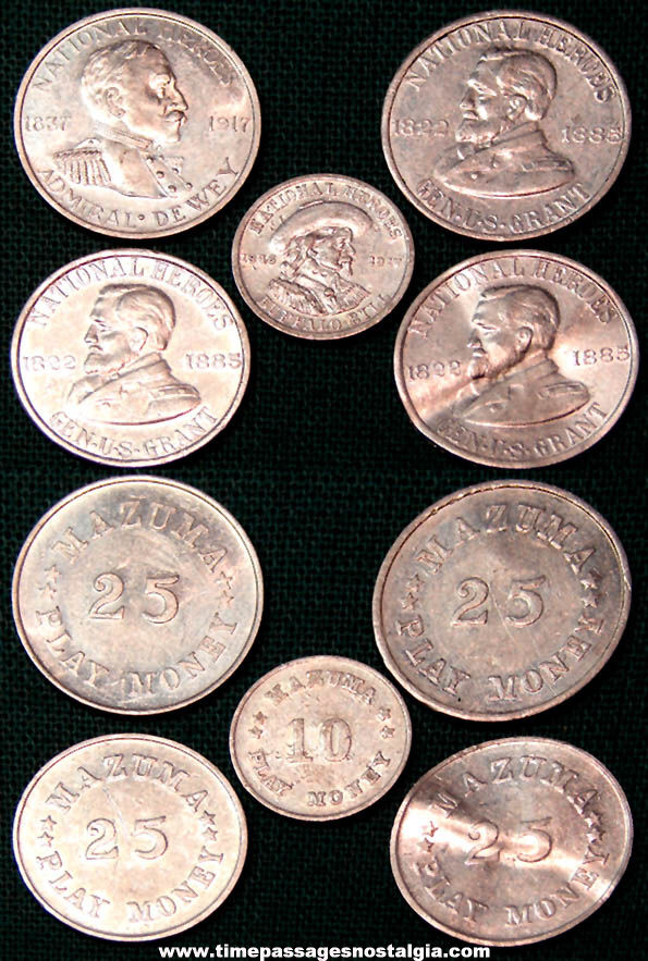 (5) Old American Chicle Advertising Premium Mazuma Gum Play Money Coins