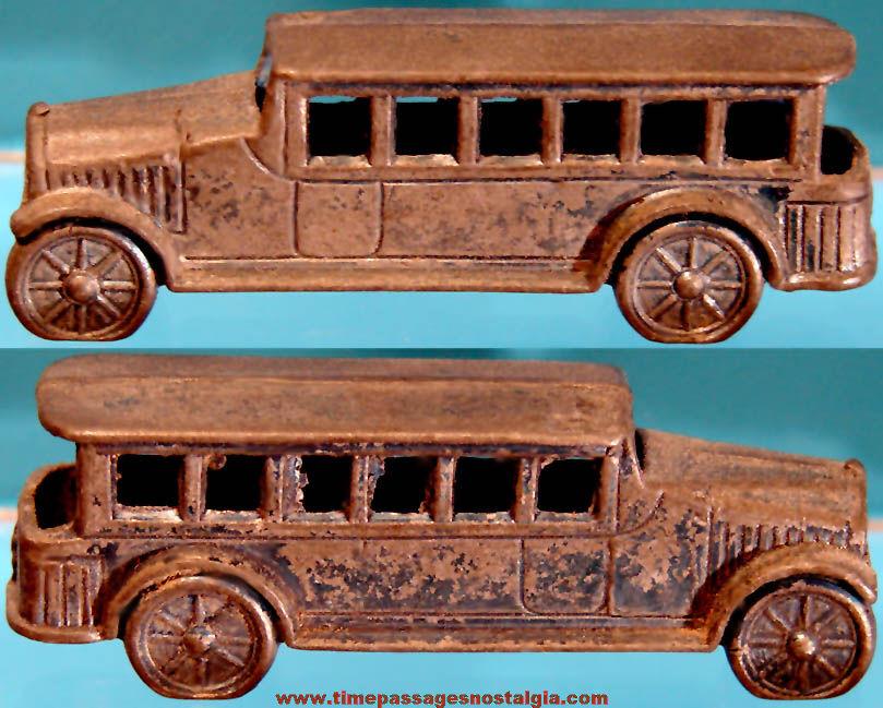 1931 Cracker Jack Pop Corn Confection Miniature Pot Metal or Lead Toy Bus