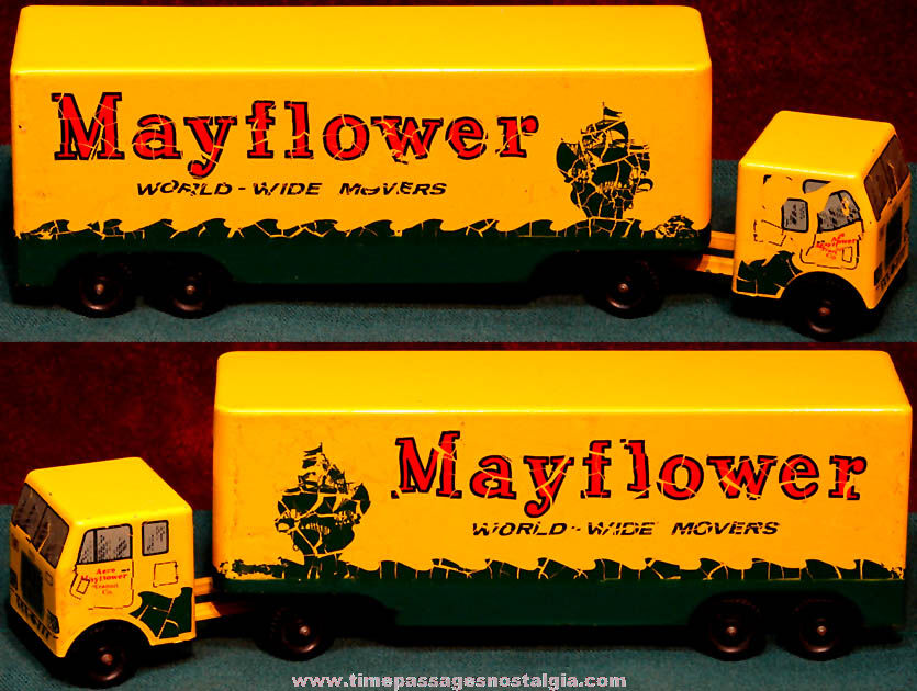 Old Metal Ralstoy Aero Mayflower Transit Company Advertising Toy Tractor Trailer Truck