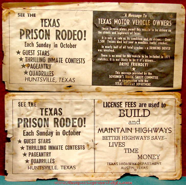 (2) Different Old Texas Automobile License Plate Prison Advertising Paper Dividers
