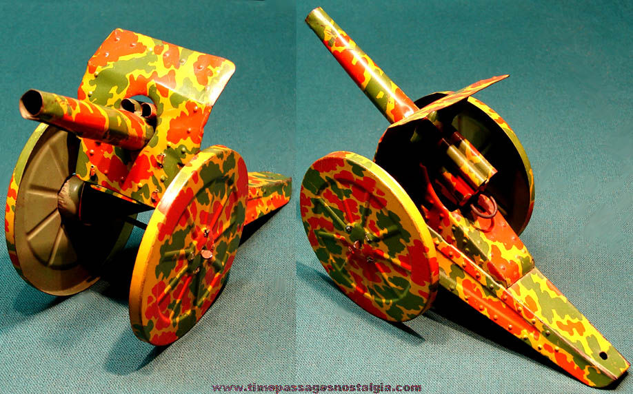 Lithographed Tin Toy Spring Loaded Military or Army Artillery Cannon