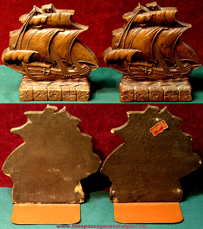 (2) Matching Old Sailing Ship OrnaWood or Syroco and Metal Book Ends