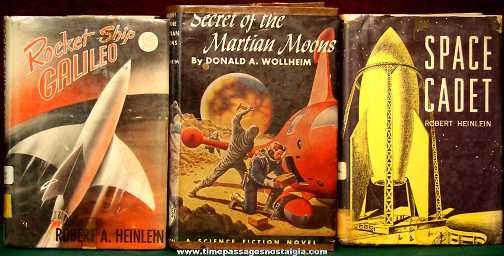 (3) Different 1940s – 1950s Space Related Science Fiction Hard Back Books