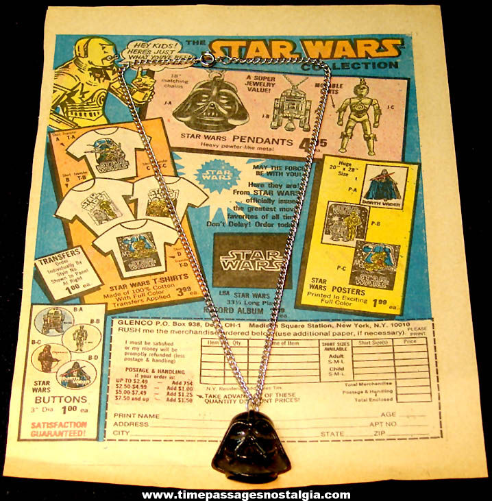 ©1977 Star Wars Darth Vader Character Necklace with Comic Book Advertisement