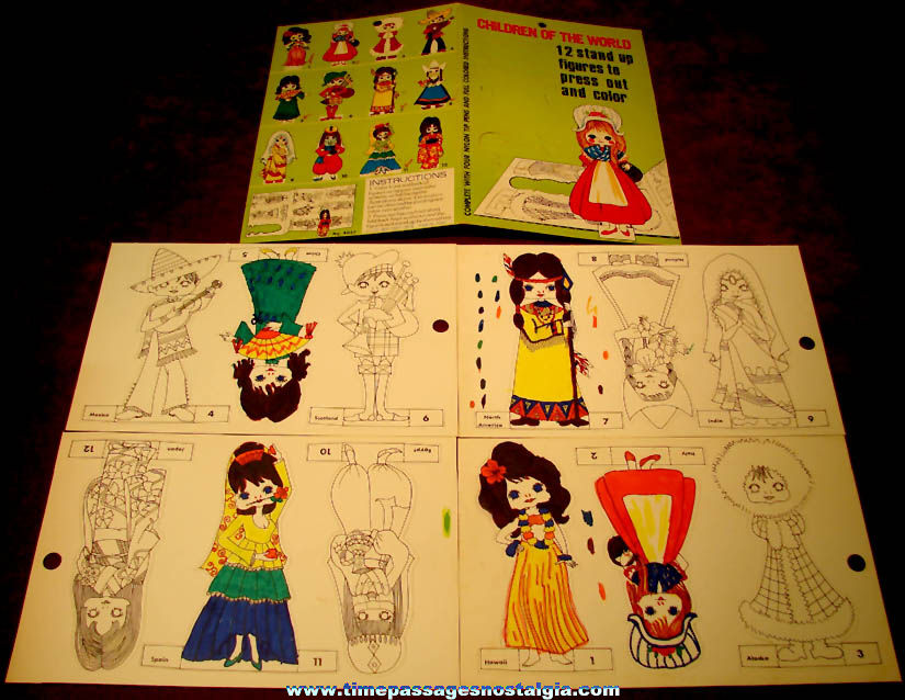 (2) Different ©1973 Sets of (12) Snap Out Children of The World Doll Figurines to Color