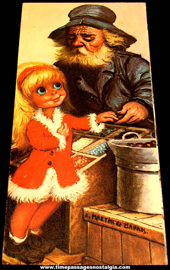 Colorful Old Big Eyed Young Girl & Old Vendor Man Wall Hanging Plaque Print