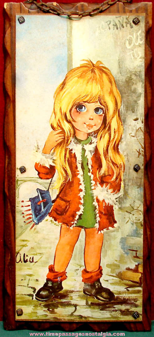 Large Colorful Old Big Eyed Young Girl Wooden Wall Hanging Plaque Print