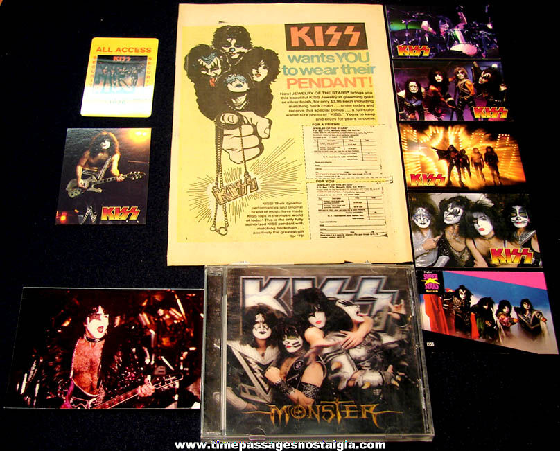 (10) Different Small Old KISS Rock & Roll Music Band Promotional Items