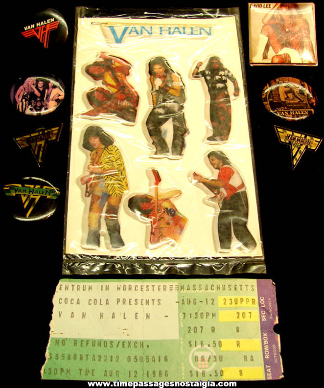 (15) Small Old Van Halen Rock & Roll Music Band Promotional Items