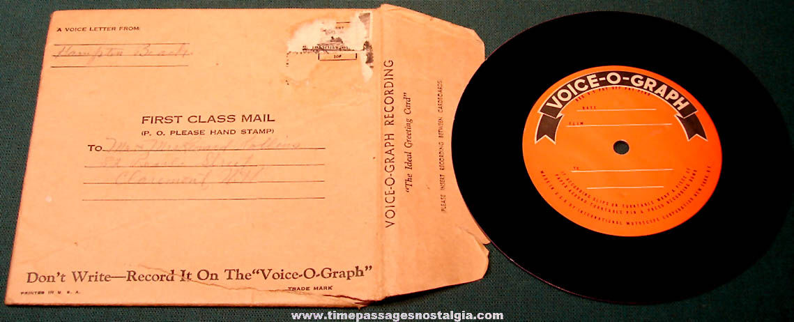 (4) Old Voice – O – Graph Mutoscope Arcade Machine Voice Letter Records With (2) Paper Sleeves