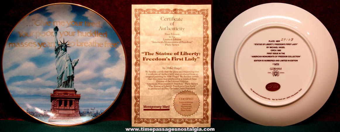 Numbered ©1985 Statue of Liberty Limited Edition Porcelain Collector Plate with COA