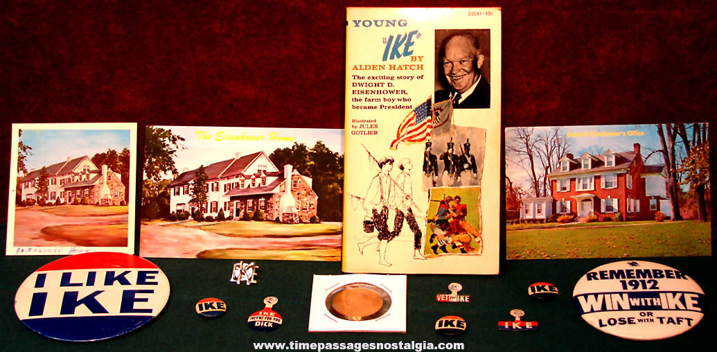 (14) Old United States President Dwight D. Eisenhower Political and Campaign Items