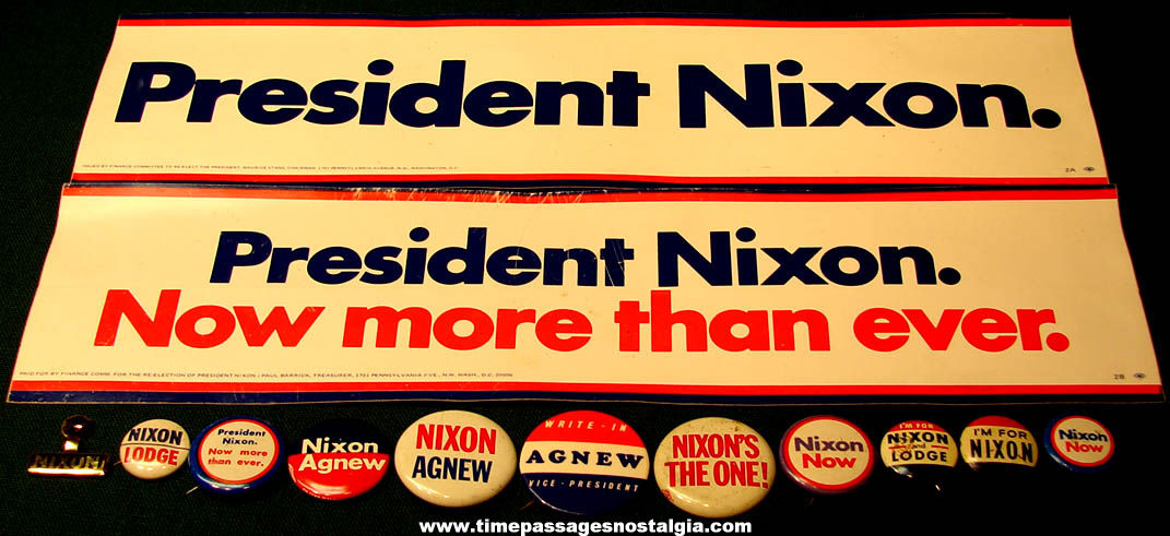 (13) Old United States President Richard M. Nixon Political Campaign Items