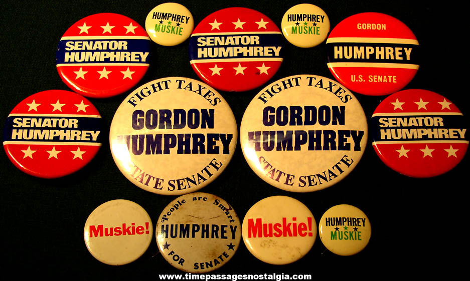 (13) Old Hubert and Gordon Humphrey Political Campaign Pin Back Buttons in this lot